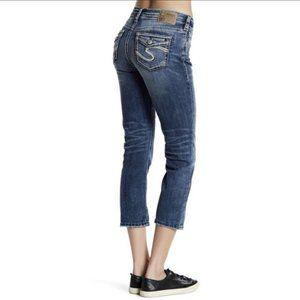 Silver AIKO Mid Capri Jeans Size 30 Dark Wash